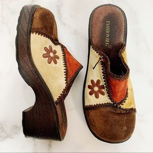 Vintage 90s Fashion Bug Leather Patchwork Clogs